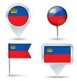 Map pins with flag of Liechtenstein vector image vector image