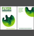 paper cut style design with green layers vector image vector image