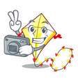 photographer cute kite flying the on mascot vector image vector image