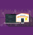 php programming language online certification vector image vector image
