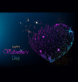 polygonal beautiful heart on blue background vector image vector image