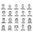 profile icons male and female head silhouettes vector image vector image