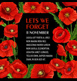 remembrance day 11 november poppy poster vector image vector image