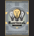 save energy retro banner of electrical service vector image