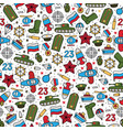 seamless pattern of military icons on a white vector image vector image