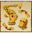 set golden robot parts arm head and other vector image vector image