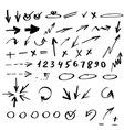 set hand drawn arrows vector image vector image