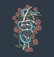 snake is on hand bones skull vector image