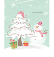 Snowman with tree vector
