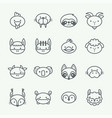 thin line style animal icons set 2 vector image vector image