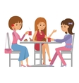 Three beautiful women talking at coffee shop while vector image vector image
