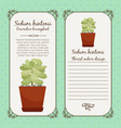 vintage label with sedum hintonii plant vector image vector image