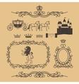 Vintage royal and princess decor elements vector image