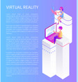 virtual reality cartoon advertising poster sample vector image vector image