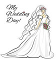 wedding bride inavitation card vector image vector image