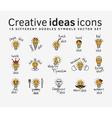 Creative ideas color flat icons symbols set vector image