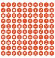 100 child center icons hexagon orange vector image vector image