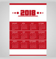 2018 simple business red wall calendar with white vector image vector image