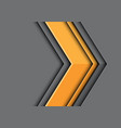 abstract yellow arrow 3d direction on grey vector image
