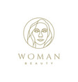 artistic beauty woman logo design with line art vector image vector image
