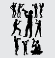 attractive people with megaphone silhouettes vector image vector image