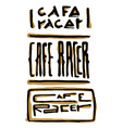 cafe racer text lettering set vector image vector image