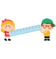 children holding a ruler vector image vector image