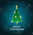 christmas card with tree blue background vector image vector image