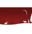 Christmas deer winter landscape of silhouettes vector image vector image
