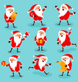 christmas santa poses an actions vector image vector image
