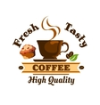 Coffee and beans cafe icon vector image vector image