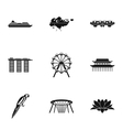 Country Singapore icons set simple style vector image vector image