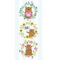 cute bears wreath flowers vector image