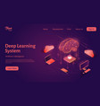 deep learning system landing web page template vector image vector image