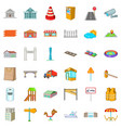 different city icons set cartoon style vector image vector image