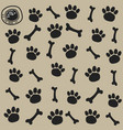 dog trail and bone pattern seamless vector image vector image