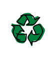 drawing green recycle sketch vector image vector image