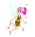 fairy with pink hair vector image