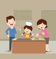 family and daughter cooking vector image vector image
