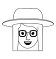 female face with hat and glasses and short vector image