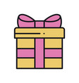 gift box with ribbon in line style present vector image vector image