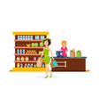 girl make purchases in shopping center carries vector image vector image