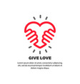give love sign hands holding heart relationship vector image vector image