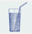 glass of water with drinking straw hand drawn vector image