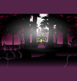 halloween background with house in the forest vector image