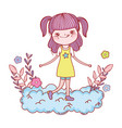 happy little girl reading book in the clouds vector image vector image
