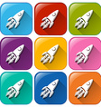 Icons with rockets vector image vector image