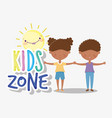 kids zone happy little boy and girl holding hands vector image