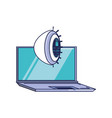 laptop computer with cyber security eye vector image vector image