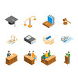 law court 3d icons set isometric view vector image
